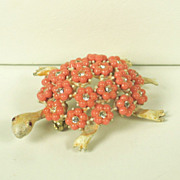 SALE Har Enamel Turtle and Plastic Flower Shell Pin