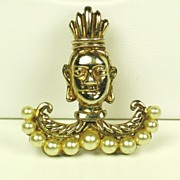 SALE Gold Plated Sterling DeRosa Tribal Face Pin w Imitation Pearls