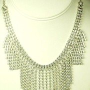 SALE White Rhinestone Runway Bib Style Necklace