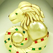 SALE Hattie Carnegie K.J.L. Enamel Lion Head Pendant Brooch with Imitation Pearls