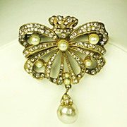 SALE Hattie Carnegie Crowned Ribbon and Imitation Pearl Brooch