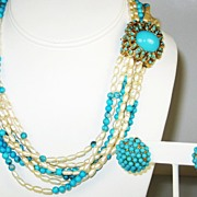 SALE Ciner Imitation Pearl and Turquoise Colored Bead Necklace and Earrings
