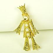Vintage Hattie Carnegie Cultured Pearl Scarecrow Pin