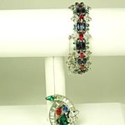 SALE Trifari K.T.F. Jewels of India Bracelet and Fur Clip Set