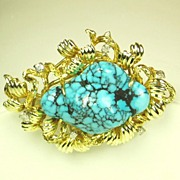 SALE 14kt Gold and Diamond Pin and Pendant with Genuine Veined Turquoise