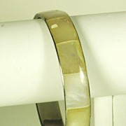 Iridescent Rectangle Inlay Mother of Pearl Bangle Bracelet