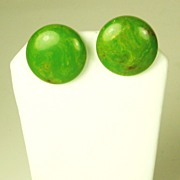 SALE Pair of Marbled Orange and Green Bakelite Earrings