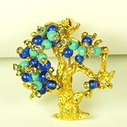 SALE Gold Plated Metal, Blue, and Turquoise Colored Glass Bead Hattie Carnegie Tree Pin