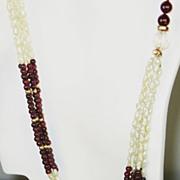 SALE 14kt Gold, Swarovski Crystal, Cultured Pearl, and Garnet Necklace