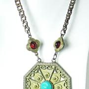 SALE Vintage Hattie Carnegie Egyptian Revival Dangle Necklace