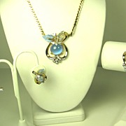 SALE Mazer Bros Blue Moonstone Floral Necklace, Bracelet, and Earrings Set