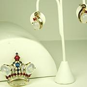 SALE 1940s Trifari Crown Pin and Earrings Demi Parure