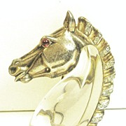 SALE 1940s Trifari Lucite and Sterling Horse Jelly Belly Fur Clip