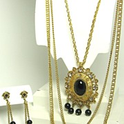 SALE Celebrity Black Plastic Bead Necklace and Earrings