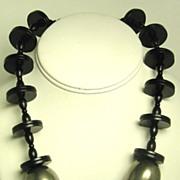 SALE 1950s Hattie Carnegie Black Lucite Disc Necklace