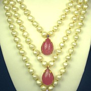 SALE Hattie Carnegie Imitation Pearl and Pink Glass Necklace