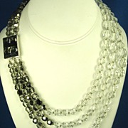 SALE Hattie Carnegie 3 Strand White and Smoky Crystal Necklace