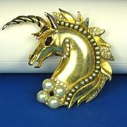SALE Hattie Carnegie H.C. Enamel and Imitation Pearl Unicorn Fur Clip