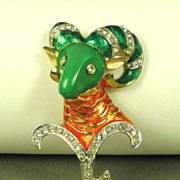 SALE DeNicola Coral and Green Enamel Zodiac Aries Ram Pin