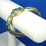 SALE Hattie Carnegie Blue and Green Enamel Snake Bracelet