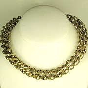 SALE Hattie Carnegie HC Gold Tone Metal Tube Necklace