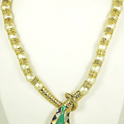 SALE Imitation Pearl and Enamel Egyptian Revival Snake Necklace