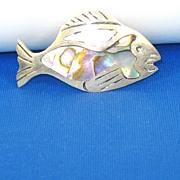 Melecio Rodriguez 925 Sterling and Abalone Shell Fish Pin