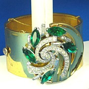 SALE McClelland Barclay Green and White Rhinestone Cuff Bracelet and 12kt Gold Clasp