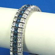 Vintage Late 1950s Ciner Sapphire Glass Bracelet