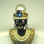 SALE Ciner Imitation Pearl and Enamel India Prince Blackamoor Pin