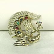 SOLD Vintage Trifari Sterling and Rhinestone Peacock Fur Clip