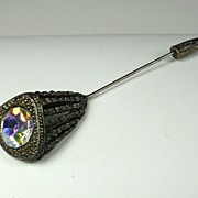 Vintage Billard Gold Tone Metal and Large Aurora Borealis Rhinestone Stickpin