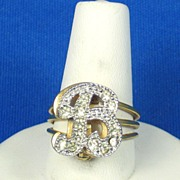 "SALE Vintage Rhinestone ""B"" Pin and 18kt Gold Electroplate Ring"
