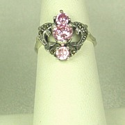 SALE Vintage 925 Sterling, Pink Topaz, and Marcasite Dolphin Ring