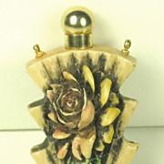 SALE Vintage Carved Floral Perfume Bottle and Necklace Pendant