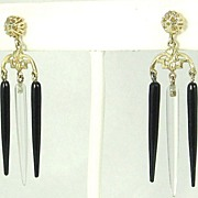 SALE Art Deco 14kt Gold and Black and White Crystal Icicle Dangle Earrings