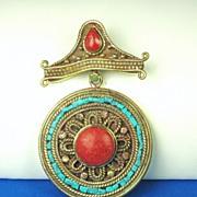 SALE Genuine Turquoise and Coral Tibetan Pendant
