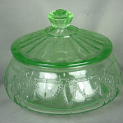 SALE PENDING 1930s Depression Glass Green Cameo Candy Dish with Lid