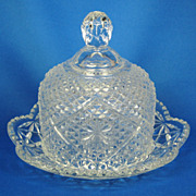SALE PENDING 1970s Glass Avon by Fostoria Butter Dish with Lid
