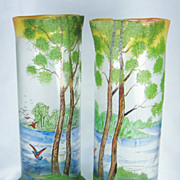 Antique Art Nouveau Legras French Mottled Cameo Glass and Enameled Landscape Lake Vases