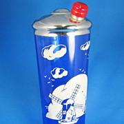 SALE PENDING Vintage 1930s Cobalt Blue Depression Glass Cocktail Shaker