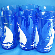 SALE PENDING 1930s Depression Glass Blue Hazel Atlas Sailboat Glasses Set