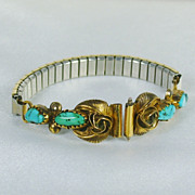 SALE PENDING Vintage Speidel U.S.A. 12kt Gold Fill, Sterling, and Turquoise Expandable Watch B