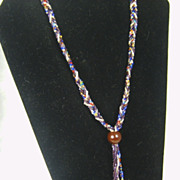 SALE Vintage Multi-Colored Seed Bead Bolo Style Necklace