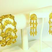 SOLD Vendome Egyptian Revival Gold Tone Metal Bracelet and Earrings