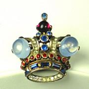 Vintage 1940s Trifari Sterling Royal Patriotic Crown Pin