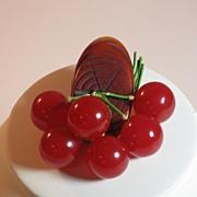 SALE Vintage Bakelite Log and Six Red Cherries Pin