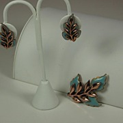 SALE Matisse Copper Enamel Leaf Pin and Earring Set