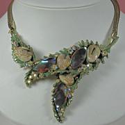 SALE 1950s Har Aurora Borealis Dragon Tooth Pendant Necklace