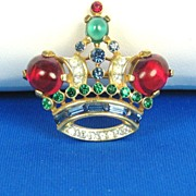 SALE Vintage Trifari Red and Green Glass Cabochon Crown Pin